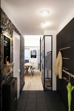 View corridor Chic Apartment Emphasising Bursts of Lights and Darks by Natalia Akimov