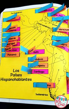 This Spanish Interactive Notebook Activity for Spanish-Speaking Countries and Capitals has composition notebook sized maps and 3-part flaps for each of the 21 Spanish-speaking countries. (Spain and Equatorial Guinea are on the right side)  Includes: -2 pages of maps -3 part tabs for each country: blank/numbered, country, capital -visual directions for students -teacher directions -example photos
