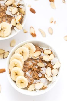 Quinoa Power Breakfast Bowls -- topped with almonds, coconut and bananas!