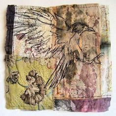 Cas Holmes - Paper, Textiles and Mixed-Media. Bird Embroidery, Free Machine Embroidery, Textile Fiber Art, Textile Artists, Fabric Journals, Art Journals, Cas Holmes, A Level Textiles, Creative Textiles