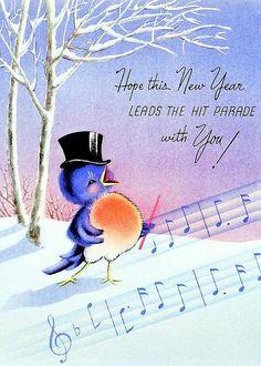 birdie greeting card for sale by munir alawi vintage happy new yearhappy