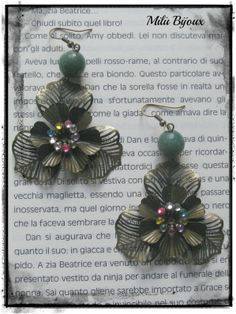 Flowers with bronze and jade colored rhinestones