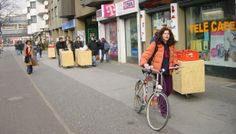 "In Cuisine Urbaine, a collaboration of artists and designers developed a small mobile kitchen which resembled a vending cart. The project ""aimed to act as urban activator and catalyst of encounters, exchanges, actions, dialogues and shared spaces and temporalities in different urban contexts""."