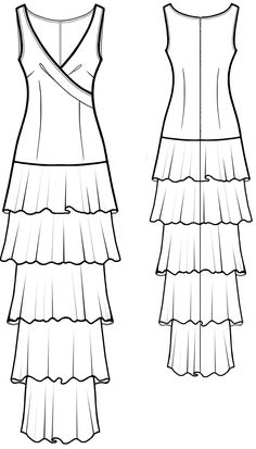 Dress With Frills - Sewing Pattern #5586. Made-to-measure sewing pattern from Lekala with free online download.
