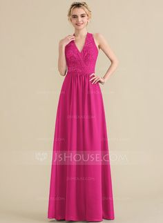 A-Line Princess Halter Floor-Length Chiffon Lace Bridesmaid Dress With  Bow(s) 78a75e4a7