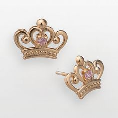 Disney Princess 18K Gold Over Silver Pink Cubic Zirconia Crown Stud $60.00--LOVE THESE! Crowns of course! lol!