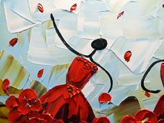 CUSTOM Abstract Dancers Painting Red Dress by ChristineKrainock