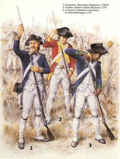 The French Martinique Grenadiers, Dillon's Fusilier and Saint-Domingue Chasseur in the American War of Independence American Revolutionary War, American Civil War, American History, British History, Native American, Military Art, Military History, Military Uniforms, Military Fashion