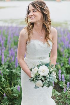 white rose wedding bouquet with lambs ear?