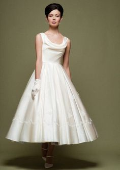 Vintage Retro 50s Tea Length Wedding Dress with Crowl Neck | DV2062