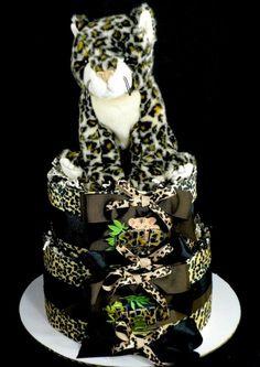 2 Tier Leopard Diaper Cake Baby Shower Centerpiece Gift  Wild Thing | mylittleangelco - Hand Assembled on ArtFire