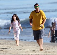 Adam Sandler a.k.a. Sandman hits the beach in Malibu and treats family to pizza