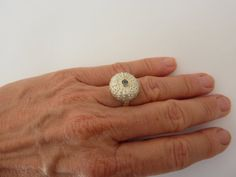 Marine line - sea urchin! silver ring with sapphire nautical by JewelleryWorkshop on Etsy