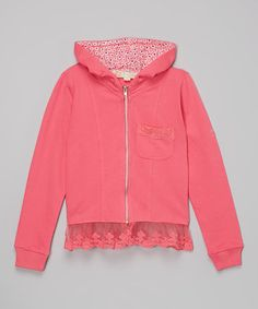 This Hot Pink Lace-Hem Zip-Up Hoodie - Toddler & Girls is perfect! #zulilyfinds