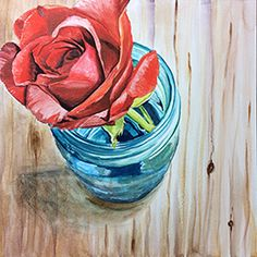 Rose with Blue - watercolor on aquabord by Redstreake