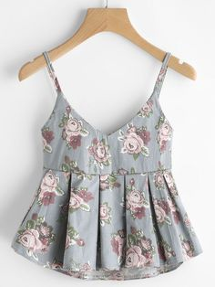 Shop V Neckline Floral Print Pleated Cami Top online. SheIn offers V Neckline Floral Print Pleated Cami Top & more to fit your fashionable needs. Girls Fashion Clothes, Teen Fashion Outfits, Mode Outfits, Trendy Fashion, Casual Outfits, Fashion Dresses, Clothes For Women, Punk Fashion, Lolita Fashion