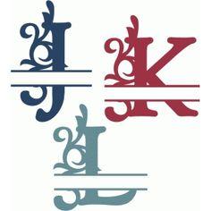 Silhouette Design Store - View Design #68034: split flourish monograms j-l