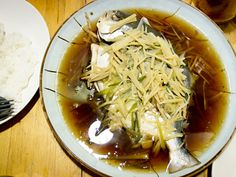 Pla Nueng See-Ew (ปลานึ่งซีอิ๊ว) Steamed Pompano Fish With Soy Sauce