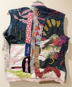 Reverse side of Wearable COLLAGE CLOTHING Denim Jacket EARTHY EDGY SALVAGE wAISTCOAT Collage Altered Fabric Art MyBonny