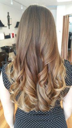 Beautiful brown/blonde ombre, U-shape cut hair, large loose curls by Brandy Godden.