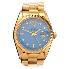Rolex Yellow Gold Day-Date Wristwatch with Blue Diamond Stella Dial circa 1977 | From a unique collection of vintage wrist watches at https://www.1stdibs.com/jewelry/watches/wrist-watches/