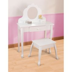 KIDS+VANITY+TABLE+AND+STOOL+in+White