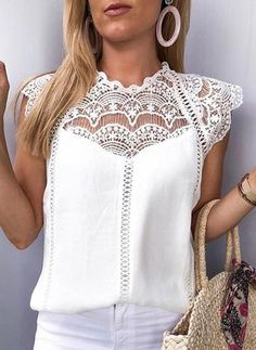 Women Tops and Blouses Shirts Solid Lace Chiffon Sleeveless Hollow Blouse Tops Shirt Woman Blouses Blusas Mujer De Moda 2019 Trend Fashion, Womens Fashion, Ladies Fashion, Fashion Ideas, Fashion Top, Fall Fashion, Style Fashion, Ladies Outfits, Fashion Dresses