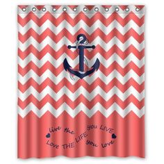 coral and blue shower curtain. x Infinity Live the Life You Love  Coral and white Chevron Zig Zag Pattern with Anchor Waterproof Bathroom Fabric Shower Curtain Navy kid bathroom Pinterest