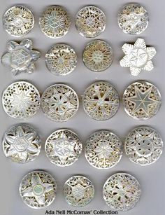 Carved mother-of-pearl buttons with star designs.