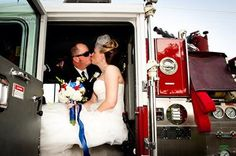 Just wanted to share our wedding photo. Married last month. He's a Firefighter/Paramedic. I'm a Paramedic intern. We met while doing my ride alongs. Just wanted to say if you date the right way in the field you can find your soul mate  Cheers! Hope you share this