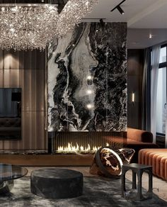 """Portfolio: Respectable apartment with a terrace in the residential complex """"City Park"""" Home Room Design, Interior Design Living Room, Living Room Designs, Luxury Homes Interior, Luxury Home Decor, Modern House Design, Modern Interior Design, Fireplace Design, Luxurious Bedrooms"""