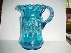 VICTORIAN SAPPHIRE BLUE WATER/LEMONADE PITCHER, ENAMELED, c. 1898. | eBay