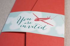 Destination Wedding Invitations, The Alex, 50 boarding pass style sets with pocketfolders and eco-friendly materials on Etsy, $325.00