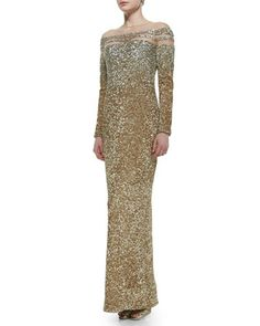 Sheer-Inset Ombre Sequined Gown by Pamella Roland at Neiman Marcus.