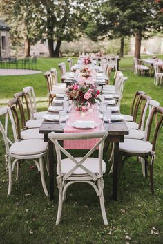 Farm table setting for outdoor reception