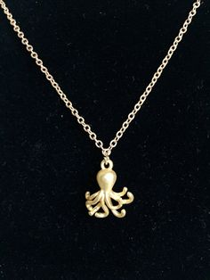 Beautiful gold octopus pendant necklace by KatherineRoseDesign