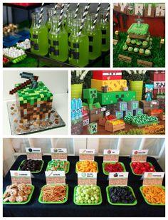 - My Minecraft World 7th Birthday Party For Boys, Diy Minecraft Birthday Party, Minecraft Party Food, Minecraft Party Decorations, Minecraft Cake, Birthday Party Decorations, Birthday Parties, Mind Craft Birthday Party, Skins Minecraft