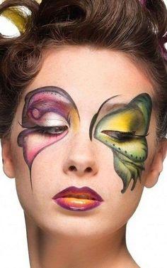 Idee make up farfalla per Carnevale - Trucco ad ali di farfalla bicolor