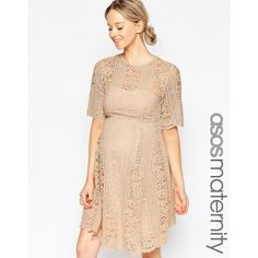 ASOS Maternity Premium Lace Skater Dress With Angel Sleeves (810 SEK) ❤ liked on Polyvore featuring maternity and blush