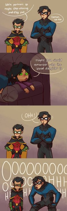 """It's come full circle"" - by dar-draws - Damian / Robin, Dick Grayson / Nightwing & Mar'i / Nightstar Tim Drake, Jason Todd, Young Justice, Batgirl, Catwoman, Robin Starfire, Nightwing And Starfire, Gato Anime, Univers Dc"