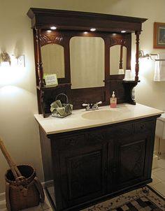 Bathroom sink from an antique dresser and fireplace mantel mirror! Bathroom sink from an antique dresser and fireplace mantel mirror! Bathroom Holder, Diy Bathroom, Dresser With Mirror, Mantel Mirrors, Diy Tile Shower, Bathroom Mirror, Bathroom, Bathroom Sink Design, Refurbished Dressers
