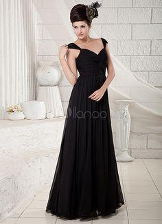 Robe de soirée A-ligne noire en satin stretch et chiffon hors de l'épaule - Milanoo.com