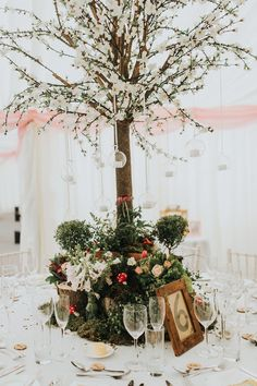 Blossom Tree Centrepiece Decor Flowers Candles Moss Logs Table Enchanting Woodland Boho Wedding http://www.kerrydiamondphotography.com/