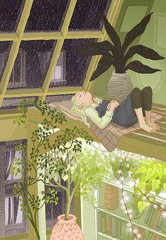 想像小螢一樣,完全放鬆的開罐啤酒躺在木地板上....by Francesca Buchko