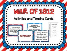 War of 1812 Activities and Timeline Cards
