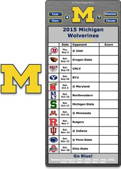 Free 2015 Michigan Wolverines Football Schedule Widget for Mac OS X - Go Blue! - National Champions 1997, 1948, 1947, 1933, 1932, 1923, 1918, 1904, 1903, 1902, 1901    http://riowww.com/teamPages/Michigan_Wolverines.htm