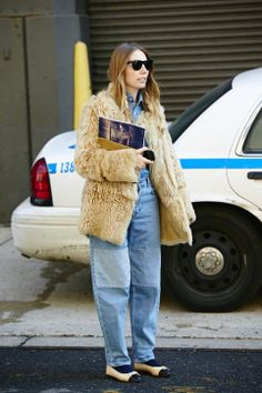 Winter Outfit Ideas From New York Fashion Week Fall 2013  Idea: Get cozy in denim and faux fur.
