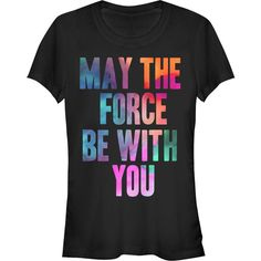 Women's Classic Star Wars Text T-Shirt ($18) ❤ liked on Polyvore featuring tops, t-shirts, black and tops & tees