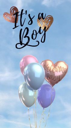 A calm blue sky in the background with balloon and text announcing that a boy has been born. Welcome Baby Girl Quotes, Wishes For Baby Boy, Baby Boy Quotes, Welcome Baby Girls, Happy Baby Quotes, Baby Gender Announcements, Baby Boy Birth Announcement, Baby Boy Balloons, Baby Shower Balloons