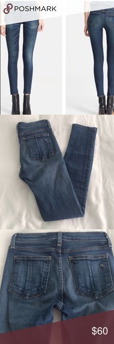 "Rag & Bone Skinny Jeans 24 Preston Wash Excellent condition, stylish rag & bone jeans this is my favorite denim designer. Medium blue Preston wash. Hemmed to 26"" inseam. rag & bone Jeans Skinny"